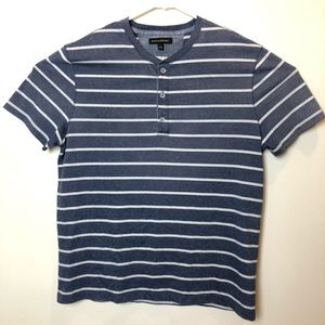 Banana Republic Mens Striped Henley Short Sleeve
